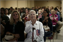 Former Cuban exile Jose Temprana, 105, seen here at the naturalization ceremony in Miami on June 29, said it was worth the wait to become U.S. citizen.