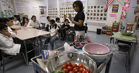 Leticia Jenkins might be one of the bravest teachers in America  not because she gives her seventh and eighth graders 30 sharp knives to chop tomatoes, onions, jalapenos and limes for a lesson on salsa and nutrition, but because she understands the futility of what she is trying to do.