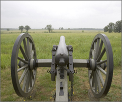 A cannon rests on Cemetery Ridge, marking a Union line of artillery and facing recently cleared land that previously had obstructed the views.