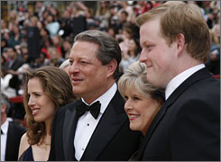 The son of former vice president Al Gore, Al Gore III, right, seen here at the 2007 Academy Awards with his family, was arrested early Wednesday on suspicion of possessing marijuana and prescription drugs after deputies pulled him over for speeding, authorities said.
