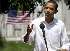 Democratic presidential hopeful Barack Obama answers questions during a news conference in Pella, Iowa.
