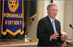 Sen. Mitch McConnell speaks in Hopkinsville, Ky. About 23,000 area soldiers will be deployed by the end of the year.