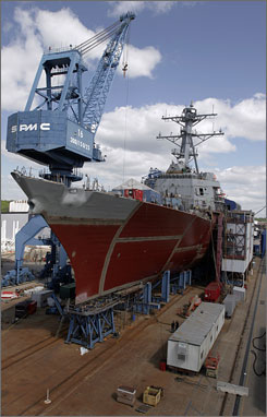 The shipyard of Bath Iron Works, which is building the destroyer Stockdale, now has 5,800 workers, down from a peak of 12,000 during the Reagan years. Workers fear that the slow but steady trend of pink slips will continue until the Navy gets serious about rebuilding its aging fleet.