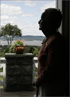 Kathryn Davis is a 100-year-old philanthropist who is giving $20 million to Scenic Hudson for buying land and creating parks along the Hudson River in Westchester County. Davis looks from her home in Tarrytown, N.Y., onto the Hudson River.