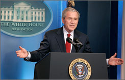 "President Bush acknowledged publicly for the first time that someone in his administration leaked the name of a CIA operative, although he also said he hopes the controversy over his decision to spare prison for a former White House aide has ""run its course."""