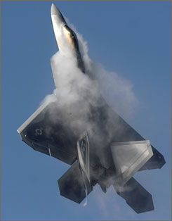 The F-22 Raptor has radar-evading stealth features and &quot;supercruise,&quot; the ability to fly at supersonic speed for extended periods without using afterburners.