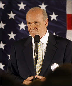 Actor Fred Thompson, a former U.S. senator and possible candidate for the Republican presidential nomination, speaks to Republicans in Bedford, N.H., on June 28.