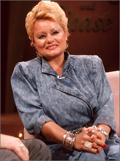 Tammy Faye Bakker, wife of former PTL evangelist Jim Bakker, appears on the syndicated television program Crook & Chase in this Aug. 24, 1987 file photo in Nashville.