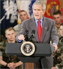Bush speaks to U.S. military personnel Tuesday at Charleston Air Force Base in South Carolina.