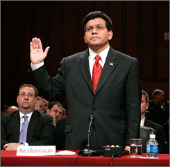 Gonzales is sworn in during a hearing before the Senate Judiciary Committee on Tuesday.
