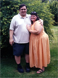 Wedding photo:Bonnie and Preston Crawford married in 1998. They gained weight during courtship and early marriage.