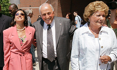 Peter Limone, his wife Olympia, right, and one of his attorneys, Juliane Balliro, left, leave the Federal Courthouse in Boston after Limone, Joseph Salvati and two other families were awarded a $101.7 million settlement for their wrongful conviction and three-decade imprisonment Thursday morning, July 26, 2007.