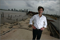 Eye of storm:Developer Sean Cummings stands at the site of a proposed 5-mile riverfront project in New Orleans that would include bike paths, jogging trails, hotels, and cruise ship terminals.