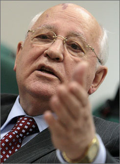 Former president of the Soviet Union Mikhail Gorbachev speaks at a press conference in Moscow, on Friday. Gorbachev made comments about Russia's current situation and its role in world politics.