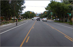 This residential street southwest of downtown was reconfigured in 2006 to add a center turn lane and bicycle lanes on both sides.