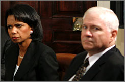 Secretary of State Condoleezza Rice and Secretary of Defense Robert Gates listen during a cabinet meeting on July 13, 2007. Rice and Gates will travel for a rare meeting with Saudi King Abdullah to discuss Iraq and encourage renewed efforts to launch Israeli-Palestinian peace talks
