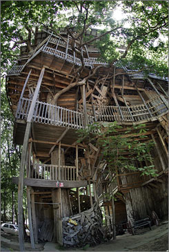The treehouse built by Horace Burgess rises 97 feet into the sky, the support provided by a live, 80-foot-tall white oak 12 feet in diameter at its base. Six other trees brace the tower-like fortress, but Burgess says its foundation is in God.