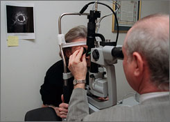 A patient is examined for macular degeneration in New York. Such eye diseases are more likely in older Americans, which is why screenings are so important, experts say.