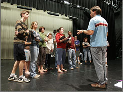 Director Glen Hochkeppel works with cast members during a rehearsal for Senioritis, which was composed and written by students in a national drama organization.