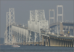 Maryland's Chesapeake Bay Bridge spans more than 4 miles and crosses the Bay from near Annapolis, Md. to Stevensonville, Md.