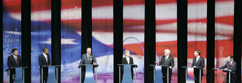 Democratic presidential hopefuls take part in a presidential forum hosted by the AFL-CIO at Soldier Field in Chicago, Tuesday.