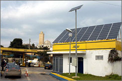  Algeria already uses photovoltaic solar panels to electrify 18 scattered, off-grid villages in the Sahara, and 16 more are due to come on line by 2009. 