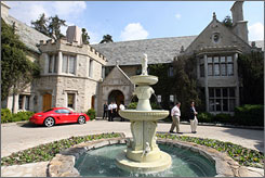 The Playboy Mansion, owned by Playboy Magazine publisher Hugh Hefner in Beverly Hills, Calif., is well known for hosting exclusive parties and events on its sprawling grounds.