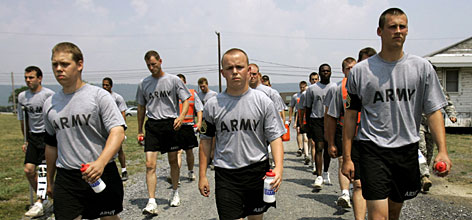 Privates undergo physical training every morning while they are in the program. Numbers are small to ensure that they are each given the attention that they need to learn and pass.