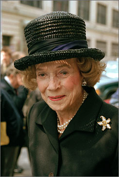 Brooke Astor, seen here in New York in May 1997, gave away nearly $200 million as a civic leader and philanthropist to support the city's cultural institutions. She died Monday at age 105.