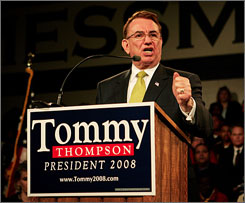 Former Wisconsin Gov. Tommy Thompson finished sixth in an Iowa straw poll over the weekend.