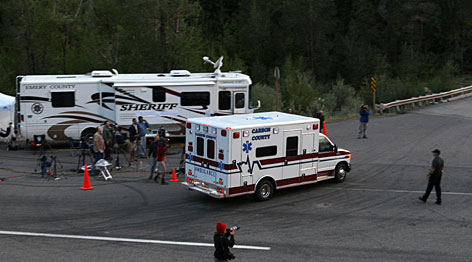 A Carbon County ambulance arrives at the Crandall Canyon coal mine Thursday. Several ambulances and a MEDEVAC helicopter arrived at the mine in the evening as rescuers continue to search for six coal miners trapped 1,500 feet beneath the surface at the Crandall Canyon coal mine after an Aug. 6 cave-in.