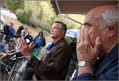 Crandall Canyon coal mine co-owner Bob Murray wipes his eyes as Assistant Secretary of the Department of Labor and director of Mine Safety and Health Administration Richard Stickler discusses the mine rescue effort on Wednesday.
