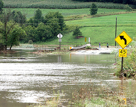 Highway 162 near Chaseburg, Wis., is seen flooded on Sunday as the area got nearly eleven inches of rainfall.