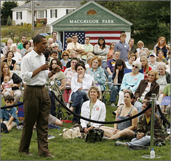 Democratic presidential hopeful, Sen Barack Obama, D-Ill., speaks during a campaign stop in Derry, N.H., Monday.