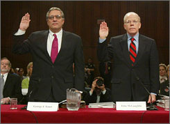 In this March 24, 2004, then-CIA director George Tenet and then-deputy CIA director John E. McLaughlin testify in Washington to the federal panel reviewing the Sept. 11 attacks.