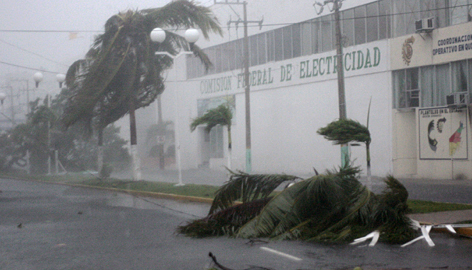 Trees are blown down in Chetumal as Hurricane Dean passes on Tuesday. The eye of the storm made landfall near Majahual, a port popular with cruise liners and about 40 miles east-northeast of Chetumal.