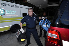 Firefighter/paramedic Jason Taylor of Station 2 in Sandy Springs, Ga., responds to a call.