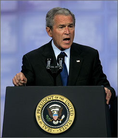 President Bush addresses the Veterans of Foreign Wars national convention Wednesday in Kansas City, Mo.