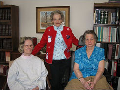 From left, Kathryn  Meacham, Hazel  Potter Dornbush  and Mary Nixon  lived at the Iowa  Soldiers? Orphans  Home  when a speech experiment that involved  teasing and torment  took place.  The three women  and the estates of  three others who  were subjects of the  study will share a  $925,000 payment  from the state.