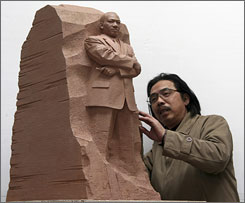 """Sculptor Master Lei Yixin created a scale model of the """"Stone of Hope,"""" meant to  be the centerpiece of a memorial of Martin Luther King, Jr. on the National Mall."""