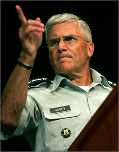 General Casey, who was the commander of Multinational Force Iraq from June 2004 to February 2007, takes a question while speaking to gathered officers at the annual General Conference of the National Guard Association of the United States.