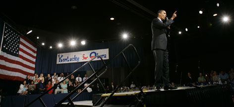 Sen. Barack Obama, D-Ill., delivers a speech at a campaign stop in Lexington, Ky., on Sunday.