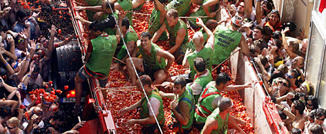 The Tomatina draws tens of thousands of revelers from around Spain and abroad, including Japan, Australia and the United States. An estimated 40,000 people took part this year.