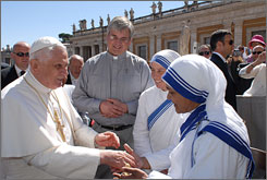 "At the Vatican, Pope Benedict XVI called Mother Teresa a ""real disciple of Christ"" as he greeted about 1,500 Missionaries of Charity gathered in St. Peter's Square for his general audience."