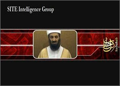 This image released by the SITE Intelligence Group reportedly shows al-Qaeda leader Osama Bin Laden during a new video message to be released soon. The image of Bin Laden, SITE reported, is contained in the banner found on jihadist forums.