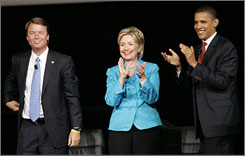 The three leading candidates in the Democratic Party, John Edwards, left, Sen. Hillary Rodham Clinton and Sen. Barack Obama all have law degrees.