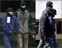"Combo shows German security officials leading two terrorist suspects from a helicopter to Karlsruhe's federal court, Wednesday. Germany arrested three people on suspicion of planning ""imminent"" terror attacks, and officials were searching for 10 suspected supporters Thursday."