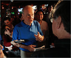 Republican presidential hopeful, former U.S. Sen. Fred Thompson of Tennessee talks during a campaign stop at Jillian's Sports bar in Manchester, N.H., Sunday.