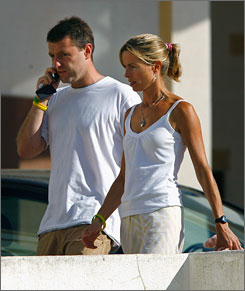Kate and Gerry McCann arrive at a church service in Praia da Luz, Portugal, on Aug. 15. The McCanns have spearheaded an intense media campaign since 4-year-old Madeleine went missing from a holiday apartment in the Algarve.