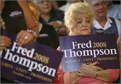 Supporters of Fred Thompson gather to hear him speak Friday in Iowa.